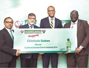 From left, Norden Thurston, Head of Marketing, Seven-Up Bottling Company Plc (SBC); Sunil Sawhney, Managing Director, SBC; Chidozie Ibekwe, 7Up HBS Scholarship recipient and Yinka Adesina, General Manager Human Resources, SBC at the presentation of the Harvard Business Scholarship to Ibekwe in Lagos.